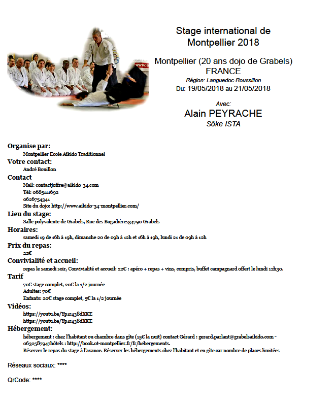 Affiche Akido traditionnel Alain Peyrache shihan MONTPELLIER 2018